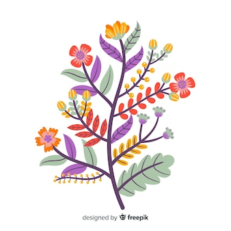 Плоский дизайн красочный цветочный филиал