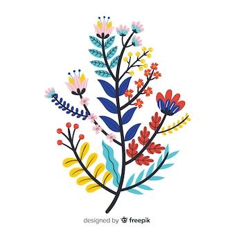 フラットカラフルな花の枝