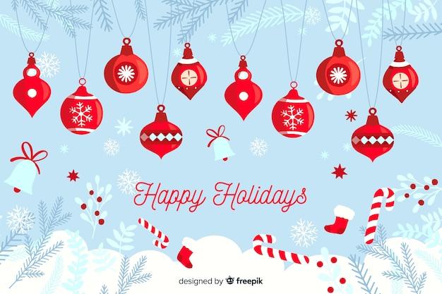 Плоский новогодний фон с рождественские украшения