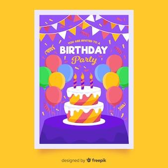 Детский шаблон приглашения дня рождения с тортом и воздушными шарами