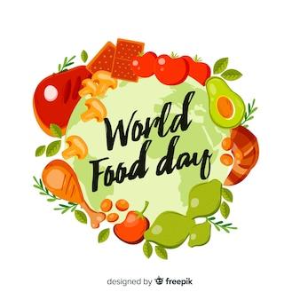 世界食品デーイベントの手描きデザイン