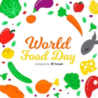 野菜と手描きの世界の食べ物の日