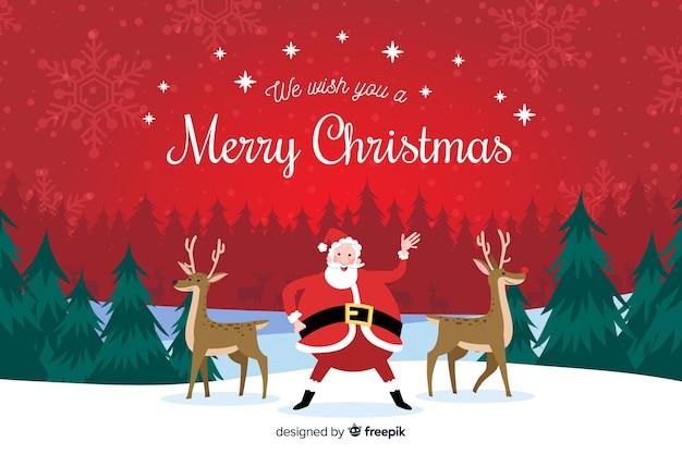 サンタクロースとトナカイの手描きクリスマス背景