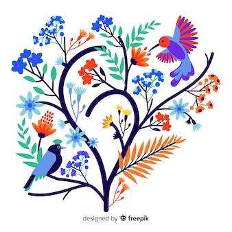 鳥とフラットカラフルな花の枝