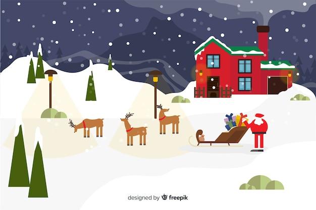 サンタクロースとトナカイとフラットクリスマス背景