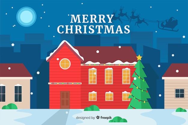 Плоский новогодний фон уютный домик и новогодняя елка