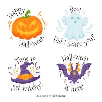 Набор рисованной хэллоуин этикетки