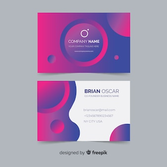 Шаблон визитной карточки абстрактный градиент модели