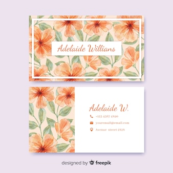 Шаблон акварельной цветочной визитки
