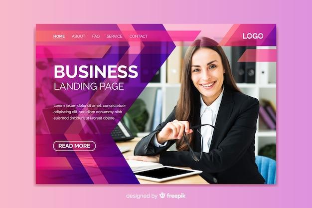画像を含むプロフェッショナルなビジネスランディングページ