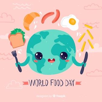 世界の食の日かわいいフラットデザイン