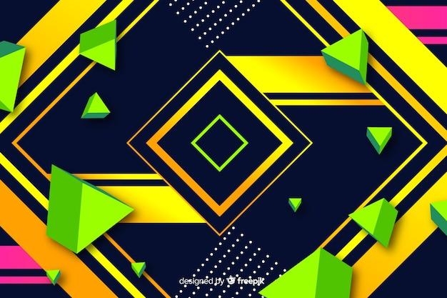 カラフルなグラデーションの幾何学的な正方形の背景