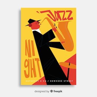 手描きデザインの抽象的なジャズ音楽ポスター