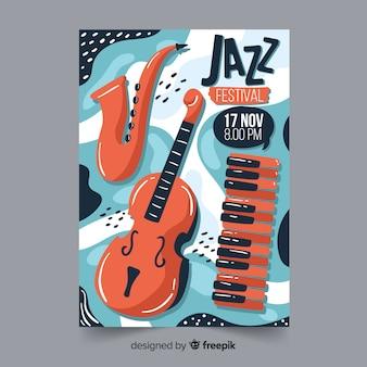 手描きの抽象的なジャズ音楽ポスター