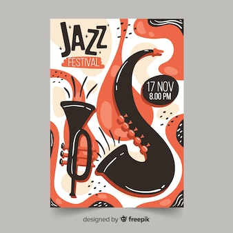 テンプレート手描きのジャズ音楽ポスター