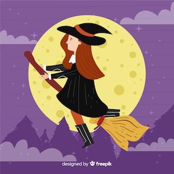 夜の時間でかわいいハロウィーン魔女