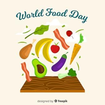 フラットなデザインの世界の食の日