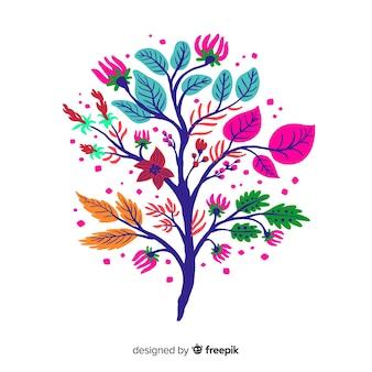 Элегантный плоский дизайн цветочной ветви