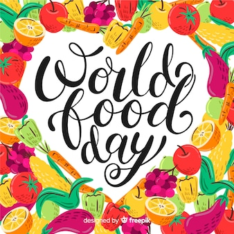たくさんの野菜を使った世界的な食の日のレタリング