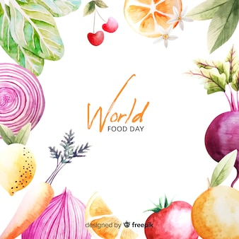 世界的な食糧日フレーム水彩デザイン