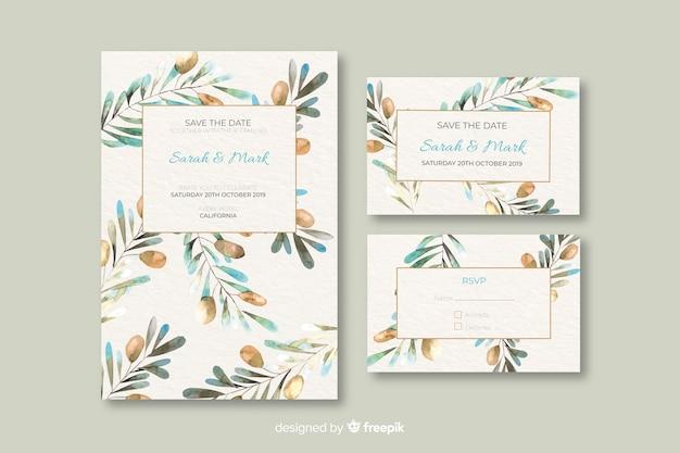 Акварель цветочные свадебные приглашения шаблон