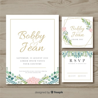 花の結婚式のひな形の招待状のテンプレート