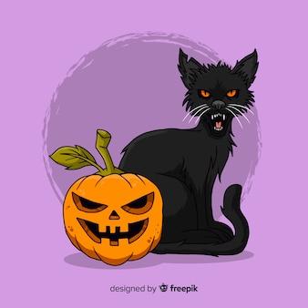 手描きのハロウィーン猫