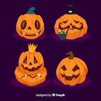 Плоский дизайн коллекции хэллоуин тыква