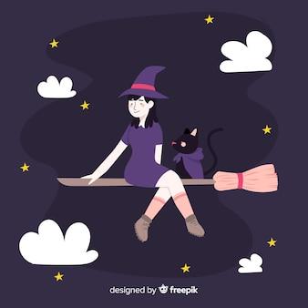 かわいいハロウィーン魔女と黒猫
