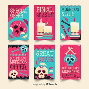 青とピンクのディアデロスムエルトスソーシャルメディアストーリーコレクション