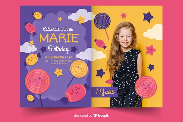 写真と子供の誕生日の招待状のテンプレート