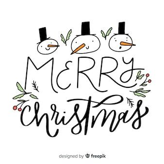 スノーマンとメリークリスマスレタリング