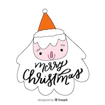 サンタクロースとメリークリスマスレタリング