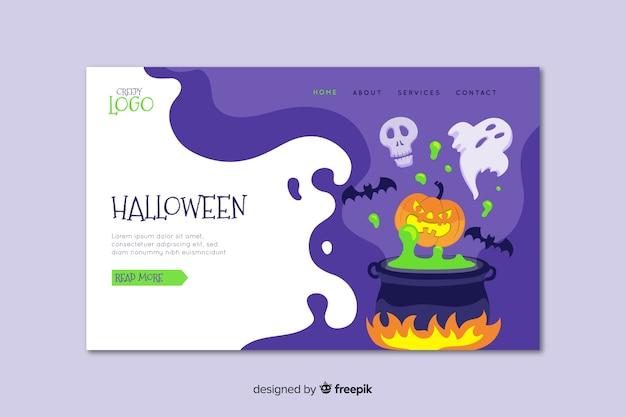 Плоская хэллоуин целевая страница с плавильным котлом