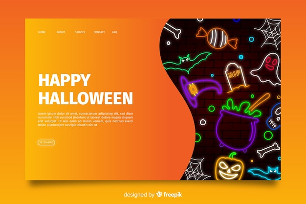 Неоновая целевая страница хэллоуина