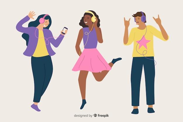 Иллюстрация людей, слушающих музыку на их наушники