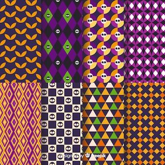 ハロウィーンのシームレスな幾何学的なデザインパターン