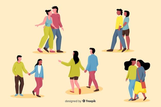 パックを歩く若いカップルのイラスト