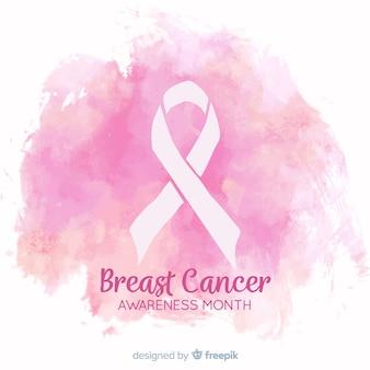 水彩デザインの乳がんの意識