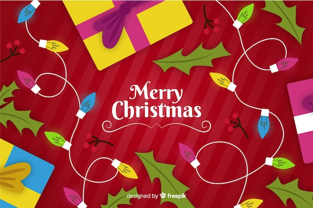 手描きのクリスマスの背景にライト、ギフト