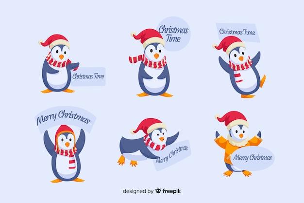 Плоский дизайн рождественской коллекции этикеток пингвинов