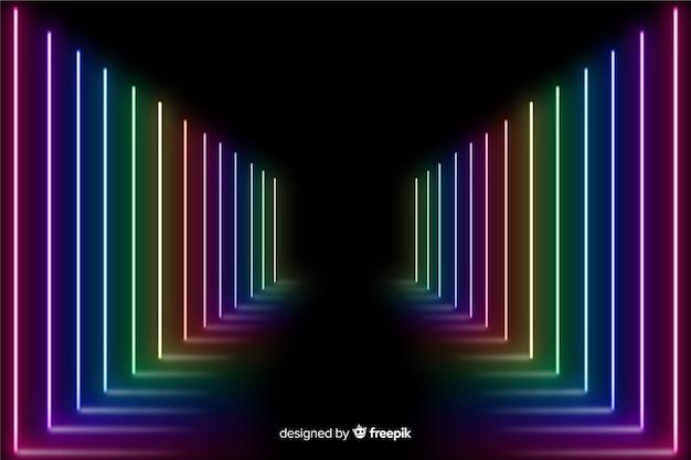 カラフルなネオンの光の背景を持つステージ