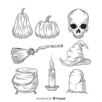 現実的な手描きのハロウィーン要素のコレクション