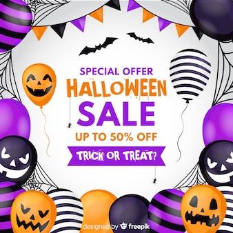 Плоский дизайн хэллоуин продажа фон с воздушными шарами