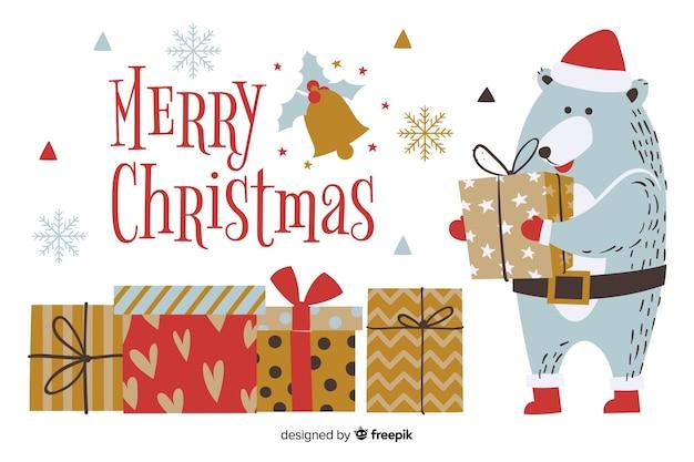 手描きかわいいクマとクリスマスの背景