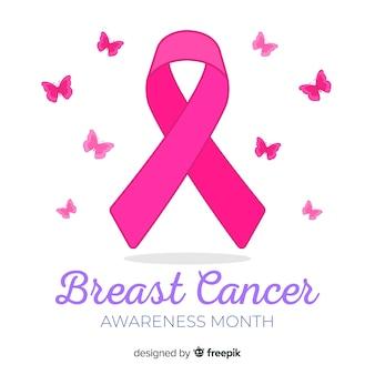 リボン付きフラットデザイン乳がんの意識