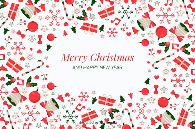 装飾とギフトフラットクリスマス背景