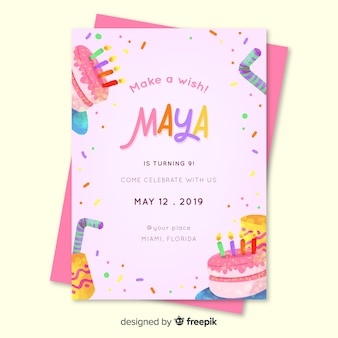 女の子テンプレートの子供の誕生日の招待状