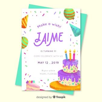 少年テンプレートの子供の誕生日の招待状