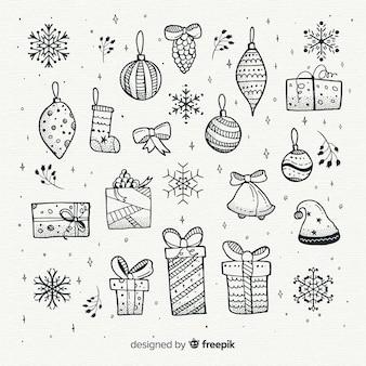手描きクリスマス要素コレクション